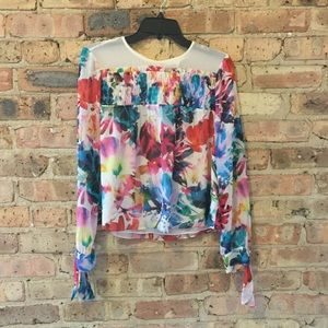 Tops - Colorful blouse with pintucking detail